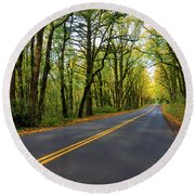 Historic Columbia River Highway In Fall Round Beach Towel
