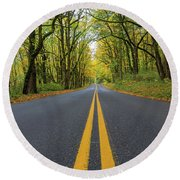 Historic Columbia River Highway Two Way Lanes In Fall Round Beach Towel