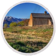 Historic Francis Tate Barn - Wasatch Mountains Round Beach Towel