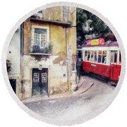Historic Lisbon Tram Round Beach Towel