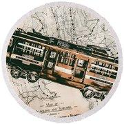 Historic Melbourne Tram Adventure Round Beach Towel