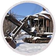Historic Mining Steam Shovel During Alaska Winter Round Beach Towel