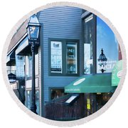 Historic Newport Buildings Round Beach Towel