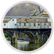 Historic Pulteney Bridge Round Beach Towel
