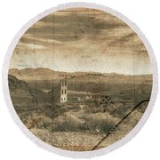 Round Beach Towel featuring the digital art Historic Rhyolite Nevada With Map by Bartz Johnson