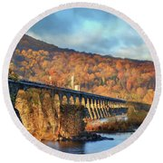 Historic Rockville Bridge Round Beach Towel