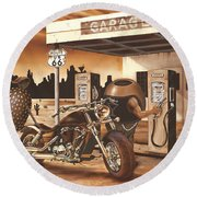 Historic Route 66 Round Beach Towel