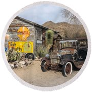 Historic Route 66 - Old Car And Shed Round Beach Towel