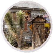 Historic Route 66 - Outhouse 1 Round Beach Towel