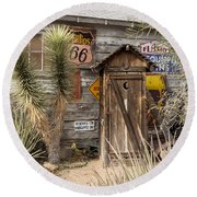 Historic Route 66 - Outhouse 2 Round Beach Towel