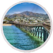 Historic Ventura Wood Pier Round Beach Towel