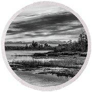 Historic Whitebog Landscape Black - White Round Beach Towel