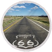 Historica Us Route 66 Arizona Round Beach Towel