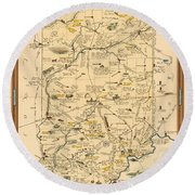 Historical Illustrated Map Of Indiana - Cartography - Vintage Map Round Beach Towel