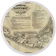 Historical Map Of Nantucket From 1602-1886 Round Beach Towel