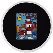Historical Michigan Lighthouse Round Beach Towel
