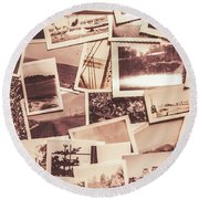History In Still Photographs Round Beach Towel