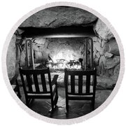 Round Beach Towel featuring the photograph Winter Warmth In Black And White by Karen Wiles