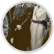 Hitler And Goring Agfa Color Circa 1941 Color Added 2016 Round Beach Towel