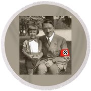 Hitler With A Child 1937 Color Added 2016 Round Beach Towel