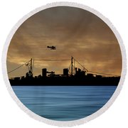 Hms Aboukir 1936 V2 Round Beach Towel