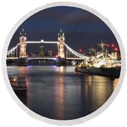 Hms Belfast And Tower Bridge Round Beach Towel