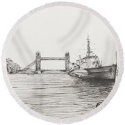 Hms Belfast On The River Thames Round Beach Towel