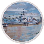 Hms Belfast Shows Off In The Sun Round Beach Towel by Nop Briex
