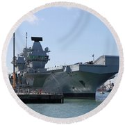 Hms Queen Elizabeth Aircraft Carrier At Portmouth Harbour Round Beach Towel