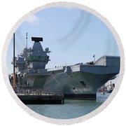 Hms Queen Elizabeth Aircraft Carrier At Portmouth Harbour Round Beach Towel