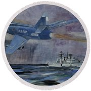 Hms Sheffield Round Beach Towel by Ray Agius