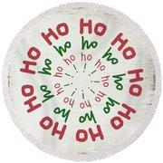 Ho Ho Ho Wreath- Art By Linda Woods Round Beach Towel