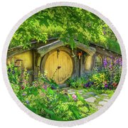 Hobbit Cottage Round Beach Towel