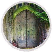 Hobbit Door Round Beach Towel