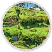 Hobbit Hills Round Beach Towel