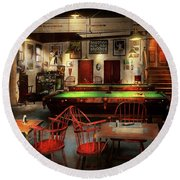 Round Beach Towel featuring the photograph Hobby - Pool - The Billiards Club 1915 by Mike Savad