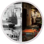 Round Beach Towel featuring the photograph Hobby - Pool - The Billiards Club 1915 - Side By Side by Mike Savad
