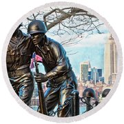 Hoboken War Memorial Round Beach Towel