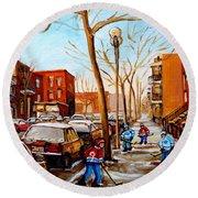 Round Beach Towel featuring the painting Hockey On St Urbain Street by Carole Spandau