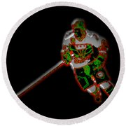 Hockey Player Round Beach Towel