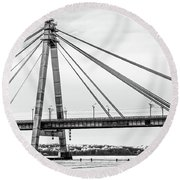 Hockey Under The Bridge Round Beach Towel by Ant Rozetsky