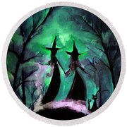 Round Beach Towel featuring the painting Hocus Pocus And Boo Bear by Lisa Kaiser