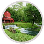 Hodgson Water Mill And Spring Round Beach Towel by Cricket Hackmann