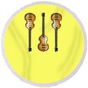 Hofner Violin Bass 62 Round Beach Towel by Mark Rogan
