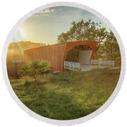 Hogback Covered Bridge 2 Round Beach Towel