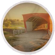 Hogback Covered Bridge Round Beach Towel
