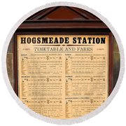 Round Beach Towel featuring the photograph Hogsmeade Station Timetable by Juergen Weiss