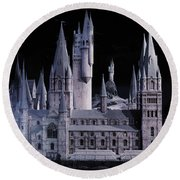 Round Beach Towel featuring the mixed media Hogwards School  by Gina Dsgn