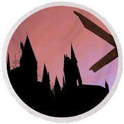 Round Beach Towel featuring the photograph Hogwarts Castle by Juergen Weiss