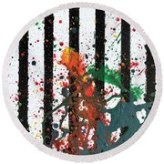 Round Beach Towel featuring the painting Hogwarts by Robbie Masso